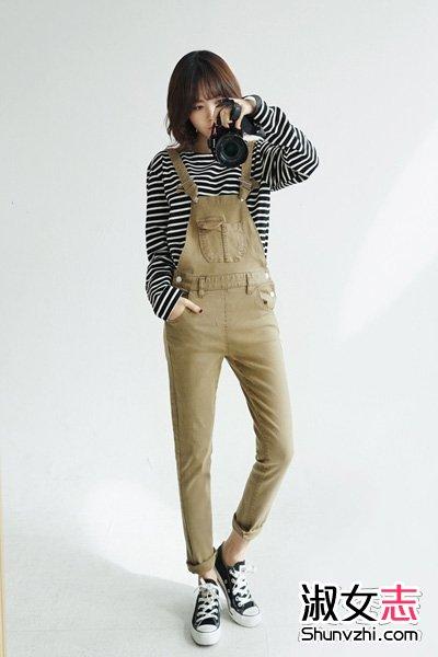 资讯生活春季街拍韩MM背带裤打扮出街